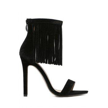 Trendy Stiletto Heel and Fringe Design Sandals For Women