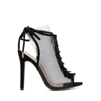 Sexy Peep Toe and Gauze Design Sandals For Women