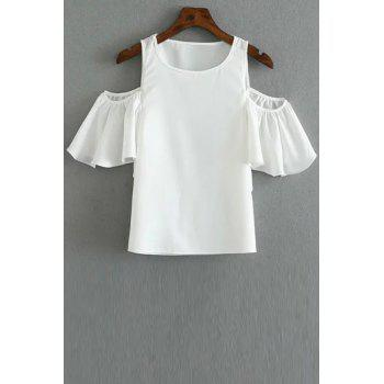 Fashionable Round Collar Cold Shoulder Solid Color T-Shirt For Women