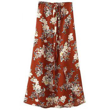 Stylish High Waist A-Line Irregular Hem Flower Print Women's Skirt
