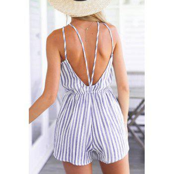 Sexy Backless Waisted Striped Romper For Women