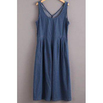 Stylish Jewel Neck Sleeveless Solid Color Denim Women's Jumpsuit