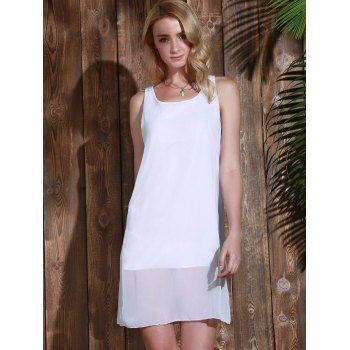 Bowknot Chiffon Mini Tank Dress - WHITE L