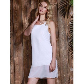 Bowknot Chiffon Mini Tank Dress - WHITE XL