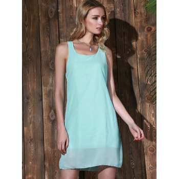 Bowknot Chiffon Mini Tank Dress - MINT GREEN S