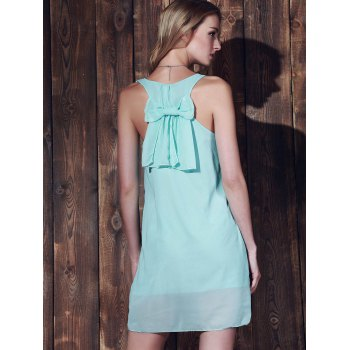 Bowknot Chiffon Mini Tank Dress - MINT GREEN M