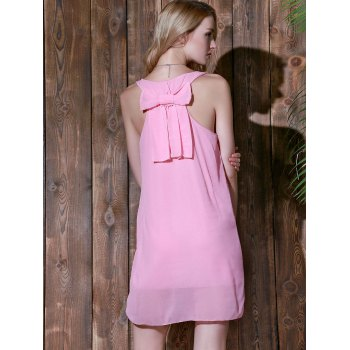 Bowknot Chiffon Mini Tank Dress - PINK XL