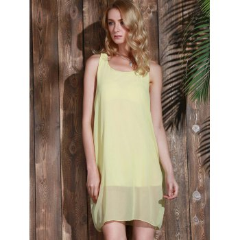 Bowknot Chiffon Mini Tank Dress - YELLOW S