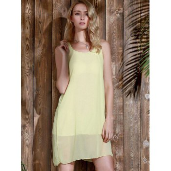 Bowknot Chiffon Mini Tank Dress - YELLOW M