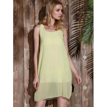 Bowknot Chiffon Mini Tank Dress - YELLOW XL