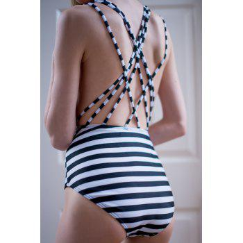 Crisscross Strappy Back Striped One Piece Swimsuit