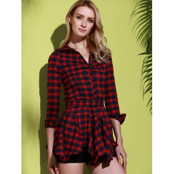 Stylish Turn-Down Collar Checked Print Lace-Up Long Sleeve Dress For Women - RED L
