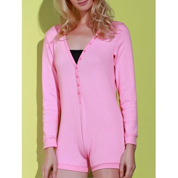 Modish V-Neck Long Sleeve Solid Color Sheathy Knitted Bodysuit For Women - PINK L