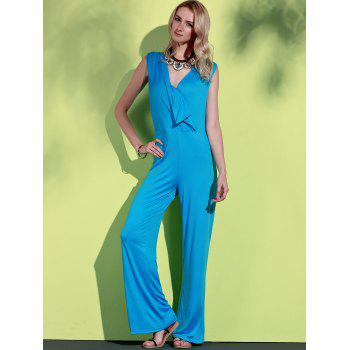 Elegant Plunging Neck Sleeveless Blue Wide-Leg Jumpsuit For Women - BLUE 3XL