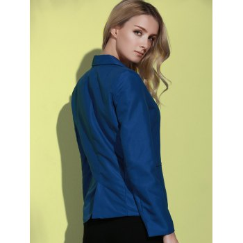 Fashionable Lapel Long Sleeve Solid Color Women's Blazer - DEEP BLUE S