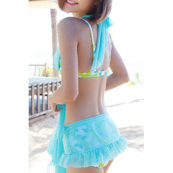Cute Mesh Design Printed Flounce Three-Piece Women's Swimsuit - TIFFANY BLUE L