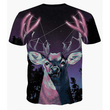 Starry Sky and Deer Print Round Neck Short Sleeves Men's 3D T-Shirt - COLORMIX XL