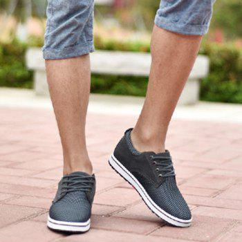 Casual Hidden Wedge and Lace-Up Design Sneakers For Men - GRAY GRAY