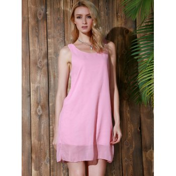 Bowknot Chiffon Mini Tank Dress - PINK S