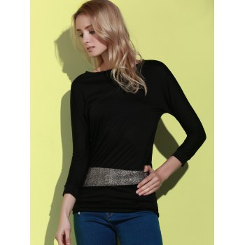 Sequin Embellished Packet Buttock Cotton Blend T-Shirt - BLACK ONE SIZE