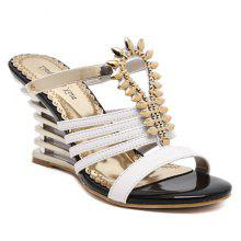 Stylish Wedge Heel and Metallic Design Women's Slippers