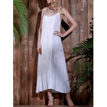 Stylish Spaghetti Strap Open Back Solid Color Women's Beach Dress