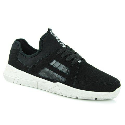 Stylish Lace-Up and Cotton Fabric Design Sneakers For Men - BLACK 40