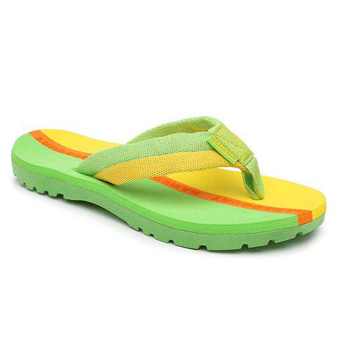 Fashion Flip Flops and Color Block Design Slippers For Women - GREEN 38