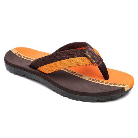 Fashion Flip Flops and Color Block Design Slippers For Men - BROWN 42