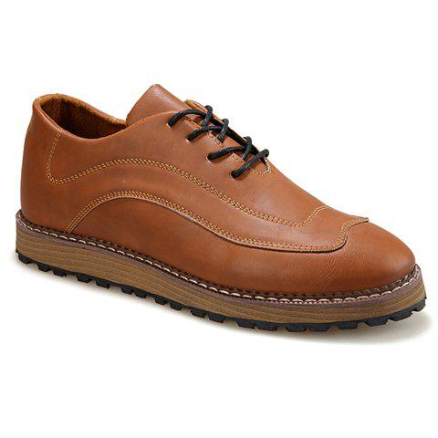 Casual Solid Color and Lace-Up Design Dress Shoes For Men - BROWN 40