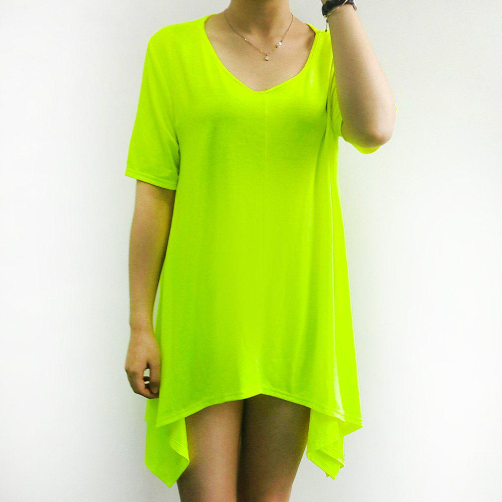 Stylish Fluorescent Green Short Sleeve Asymmetrical T-Shirt For Women