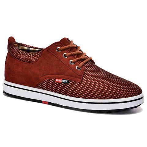 Casual Hidden Wedge and Lace-Up Design Sneakers For Men - DARK RED 42