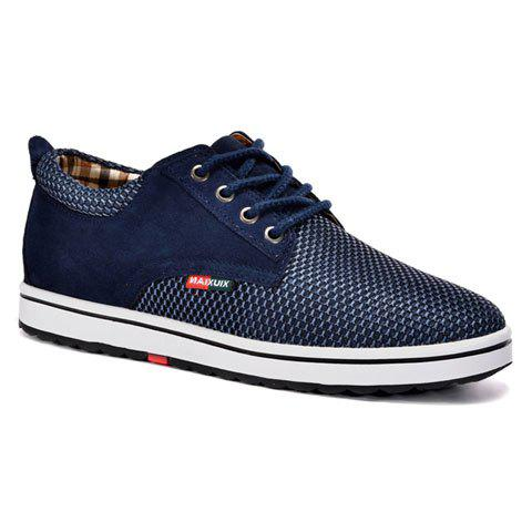 Casual Hidden Wedge and Lace-Up Design Sneakers For Men - DEEP BLUE 39