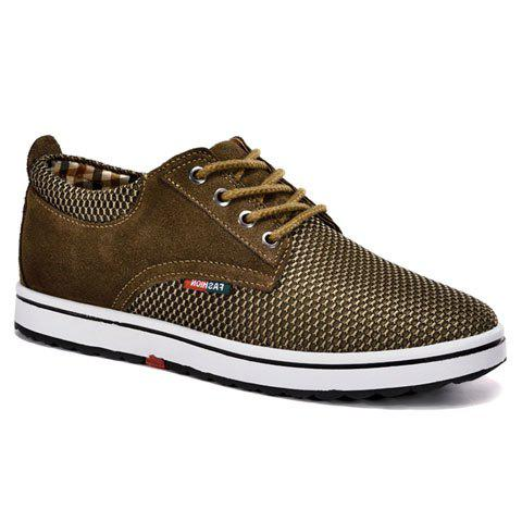 Casual Hidden Wedge and Lace-Up Design Sneakers For Men - KHAKI 42