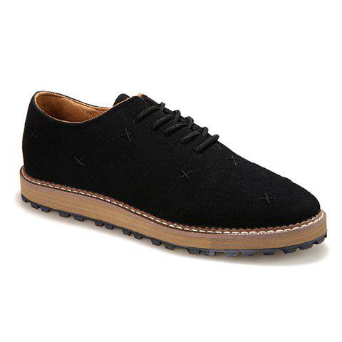 Simple Lace-Up and Suede Design Casual Shoes For Men - BLACK 44