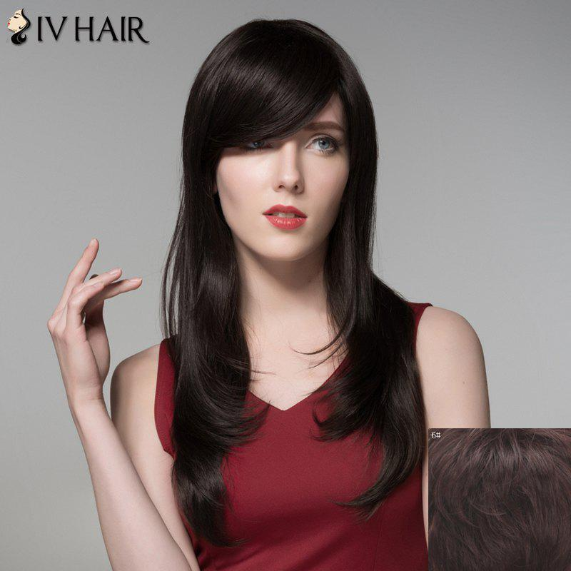 Fluffy Natural Wavy Side Bang Fashion Long Layered Capless Human Hair Wig For Women - MEDIUM BROWN