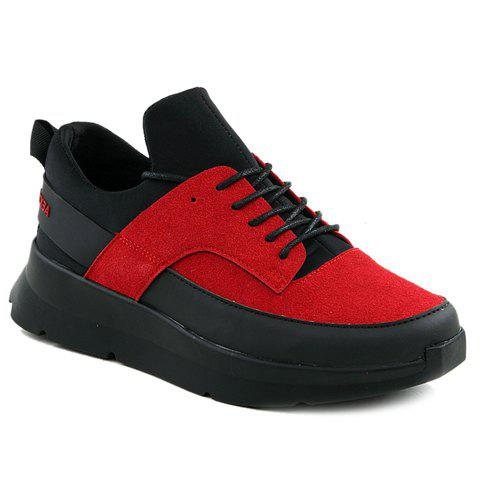 Stylish Suede and Colour Block Design Men's Athletic Shoes - RED/BLACK 44