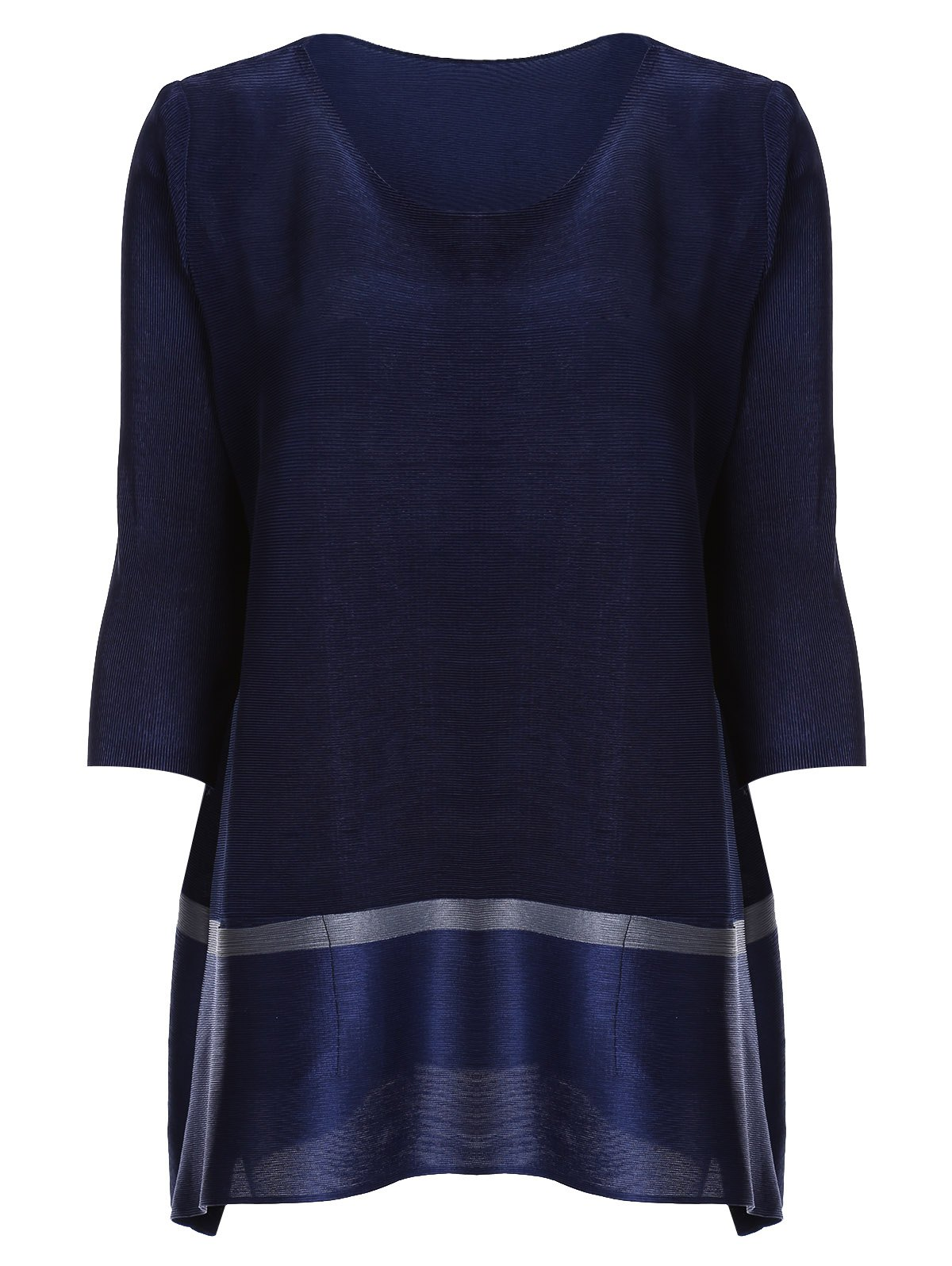 Chic 3/4 Sleeve Scoop Neck Pocket Design Women's Blouse - DEEP BLUE ONE SIZE(FIT SIZE XS TO M)