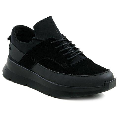 Stylish Black Colour and Splicing Design Men's Athletic Shoes - BLACK 39