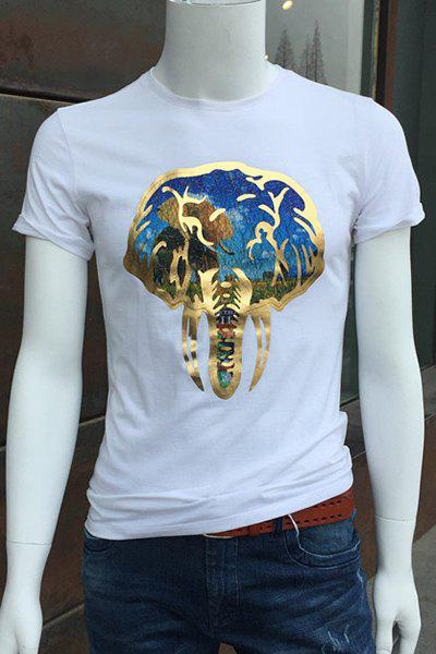 Round Neck Golden Elephant Pattern Short Sleeve T-Shirt For Men - WHITE L