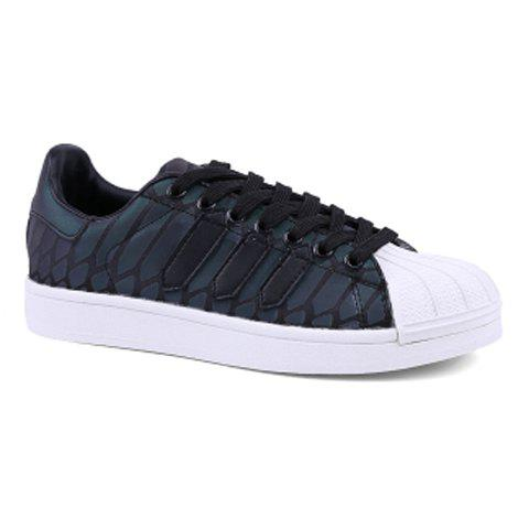 Fashionable PU Leather and Lace-Up Design Sneakers For Men - BLACK 43
