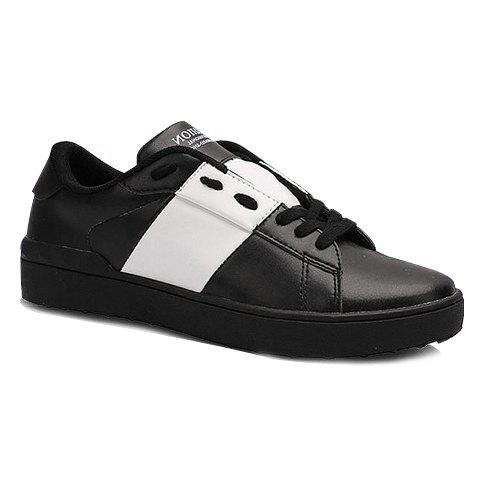Trendy Color Block and PU Leather Design Sneakers For Women - WHITE/BLACK 40