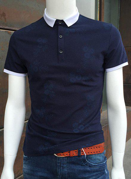 Trendy Turn-Down Collar Hit Color Spliced Floral Print Short Sleeve Men's Polo T-Shirt - BLUE L
