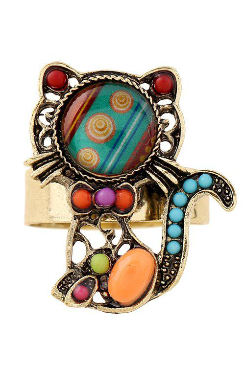 Fake Gem Bead Kitten Cuff Ring - COLORMIX ONE-SIZE
