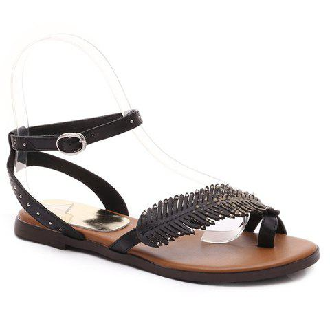 Casual Ring Toe and Buckle Design Sandals For Women - BLACK 36