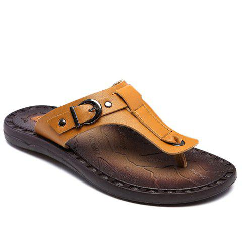 Concise PU Leather and Buckle Design Men's Slippers - LIGHT BROWN 43
