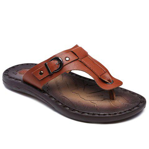Concise PU Leather and Buckle Design Men's Slippers