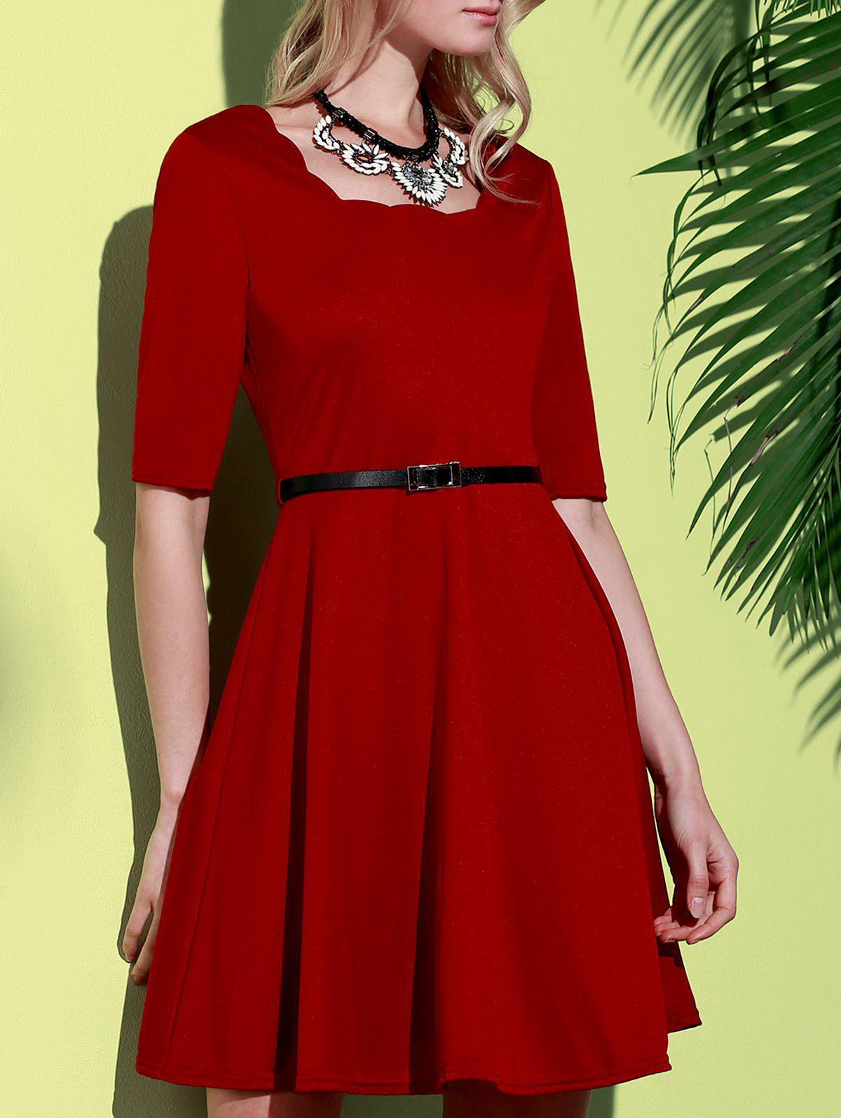 Stylish Half Sleeve Square Neck Pure Color A-Line Women's Dress - WINE RED S