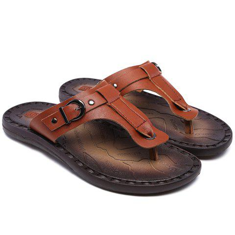 Concise PU Leather and Buckle Design Men's Slippers - DEEP BROWN 40
