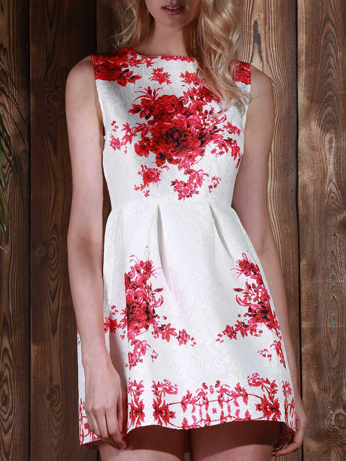 Elegant Floral Printed Sleeveless High Waist Mini Sundress For Women - RED S